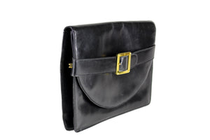 LOEWE black leather clutch purse with buckle