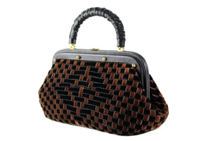 Black and brown woven velvet frame bag