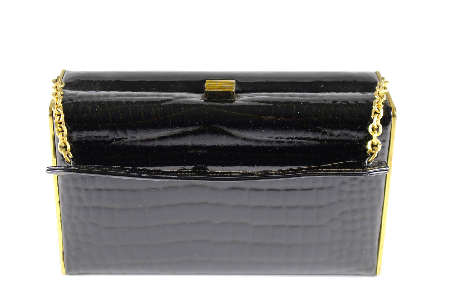 COBLENTZ embossed crocodile skin clutch