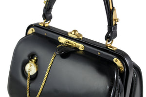 LEDERER black leather handbag with removable pocket watch