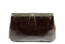 Art deco brown leather frame clutch