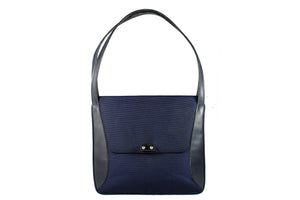 LOEWE black leather and blue fabric handbag