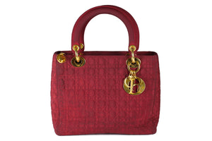 CHRISTIAN DIOR burgundy cannage microfibre lady dior bag