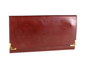 CARTIER large leather wallet burgundy
