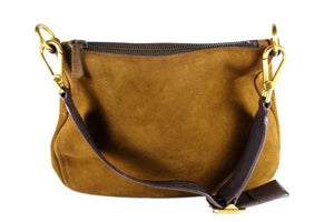 PRADA brown suede hobo shoulder bag