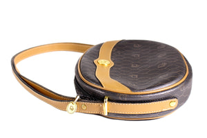 CHRISTIAN DIOR honeycomb canvas circular handbag
