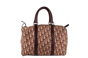CHRISTIAN DIOR burgundy canvas logo Boston bag