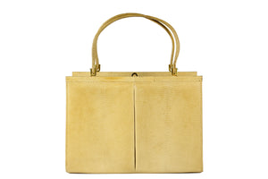 Lizard cream-colored frame handbag