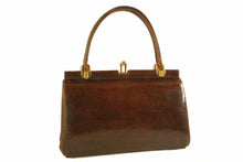 DORY chocolate brown lizard skin handbag