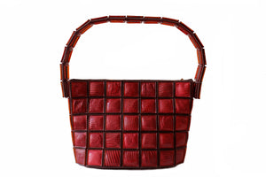 Tiled red wine color lizard skin handbag clutch