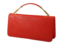 FIORENZA carmine color ostrich bag
