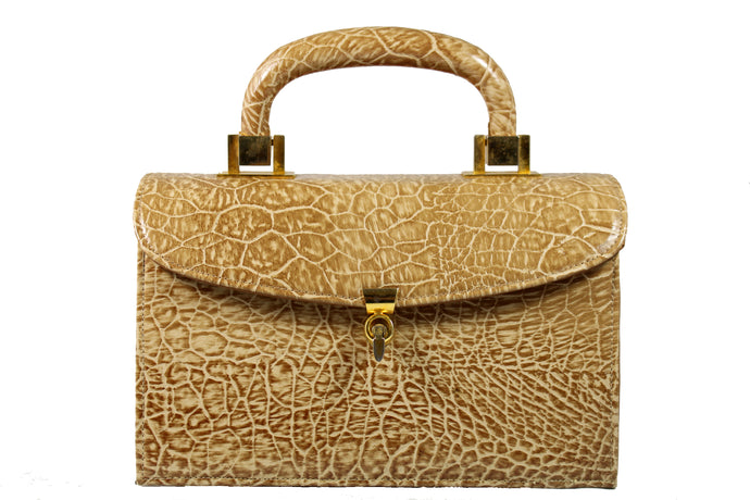 MEYERS toasted beige embossed turtle skin handbag