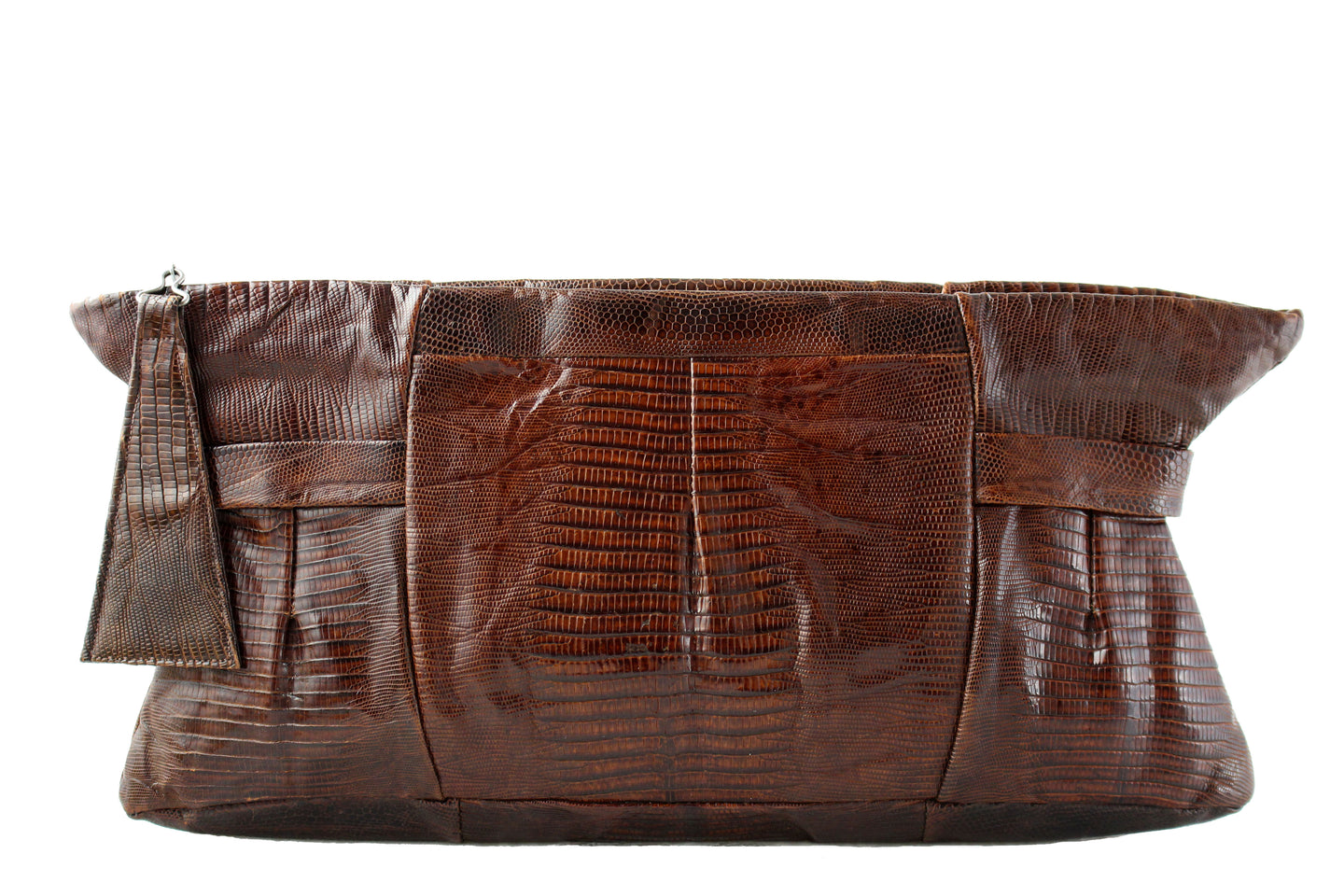 Large chocolate brown lizard handbag