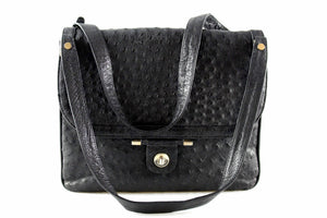 LOEWE black ostrich skin bag with flap and double handle