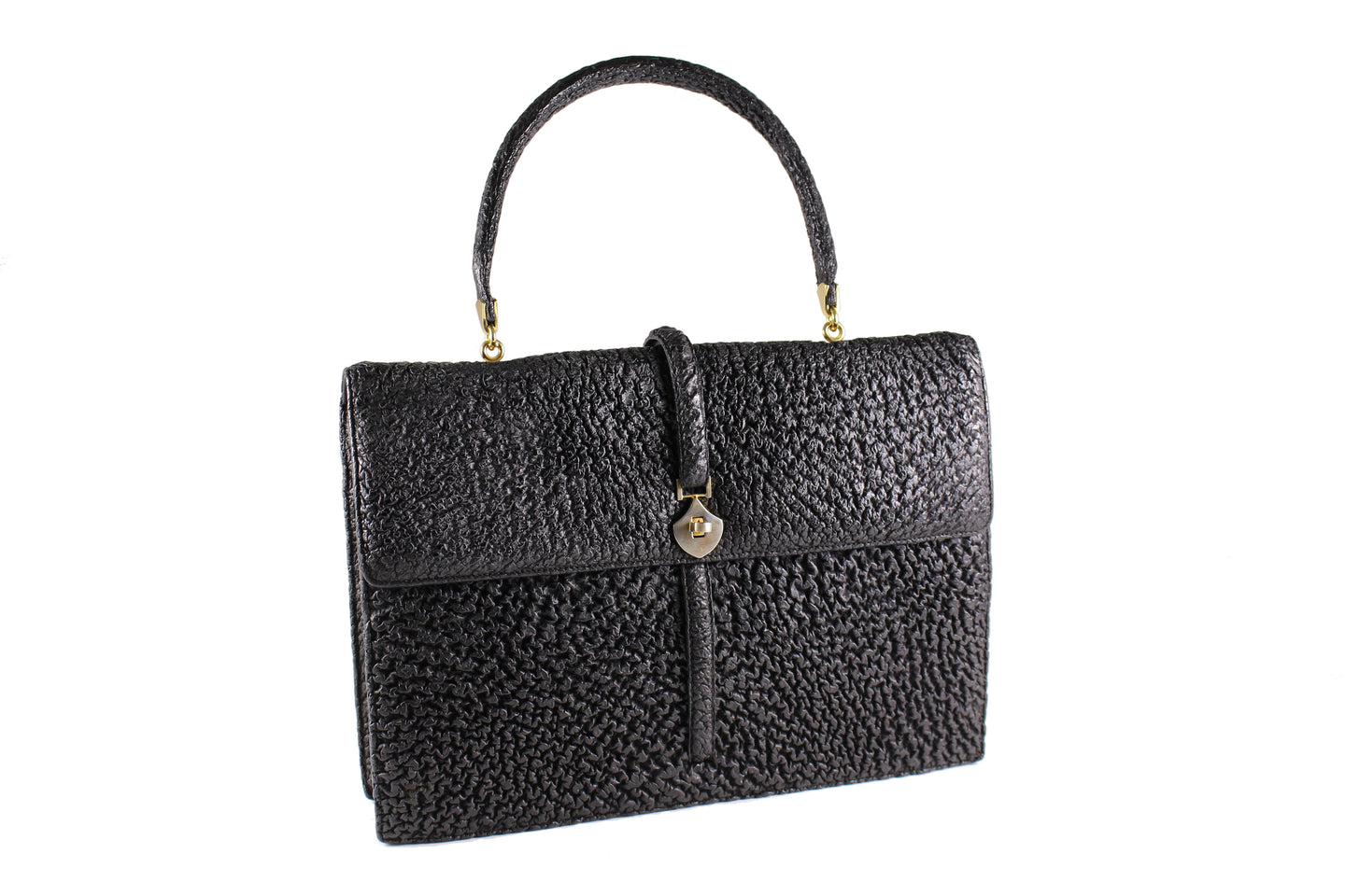 LOEWE black shark skin leather handbag