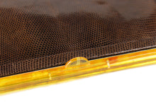 Lizard skin clutch handbag with lucite frame