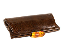 Brown lizard skin bakelite clasp clutch