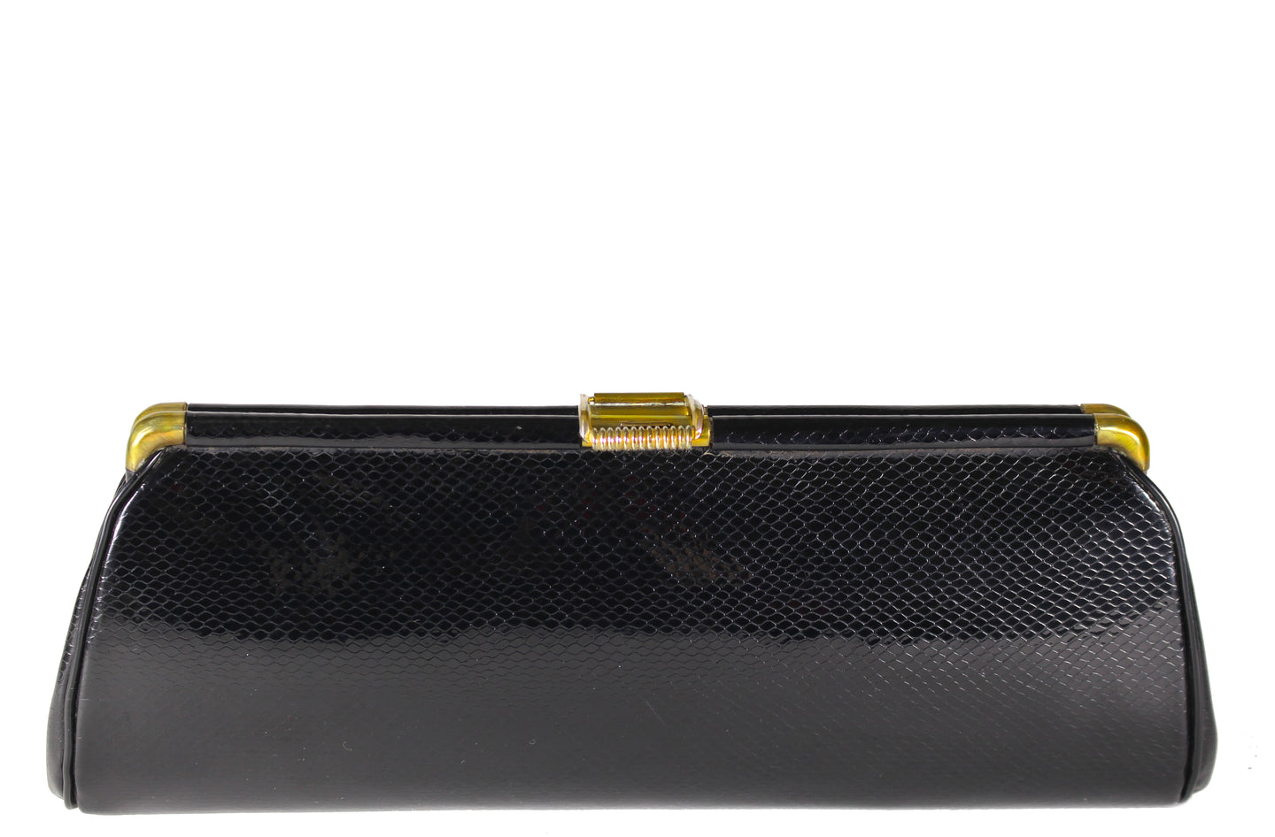 Elongated black snakeskin print clutch