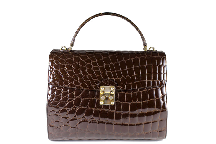 TAIR'S large brown crocodile embossed handbag