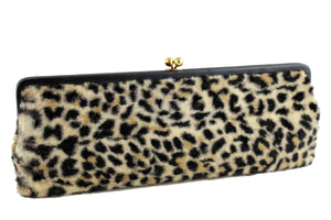 INGBER elongated clutch purse with leopard print