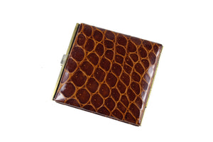 Brown crocodile skin cigarette case