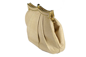 NEIMAN MARCUS by JUDITH LEIBER creme snakeskin handbag with jewel clasp