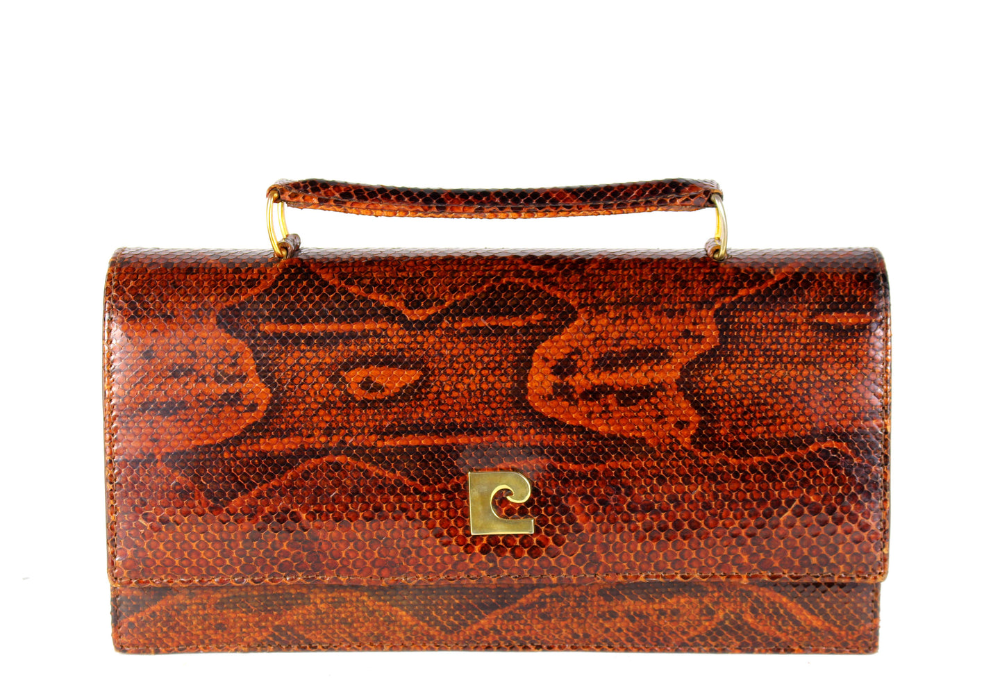 Orange-brown snake skin handbag