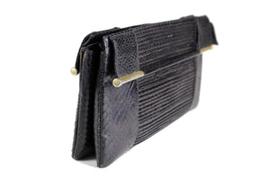 Snake skin handbag with bar-handles