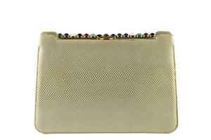 JUDITH LEIBER taupe snake skin jewel frame clutch