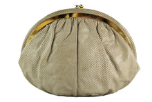 JUDITH LEIBER beige snake skin clutch with semicircular jewel frame