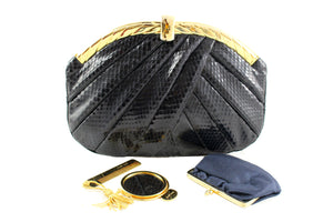 JUDITH LEIBER black snake skin pleated handbag