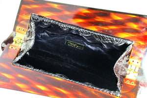 VARON black snake clutch with lucite frame