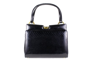Black snake skin frame handbag double handle