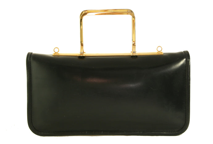 REMY metal handle leather handbag