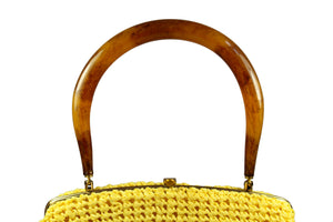 MORRIS MOSKOWITZ yellow raffia purse with lucite handle