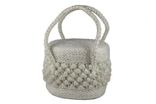White raffia box handbag