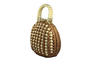 DENA OF DALAS wicker and plastic beads handbag