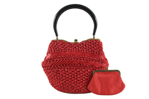 MORRIS MOSKOWITZ red raffia handbag with lucite handle