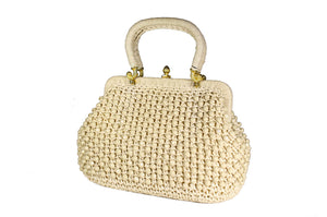Raffia and ivory beads handbag