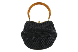 MORRIS MOSKOWITZ black raffia handbag with lucite handle