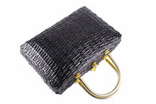Structured black wicker bag