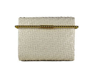 RODO white wicker clutch