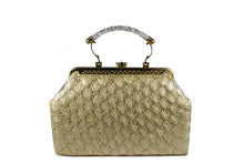 Ecru color crochet raffia handbag with lucite handle