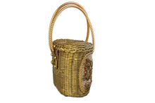 MIDAS OF MIAMI golden wicker handbag with gold beads