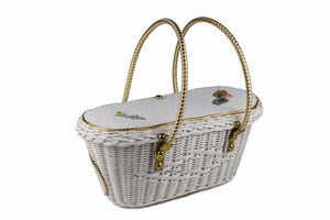 MIDAS OF MIAMI wicker box bag with white beads
