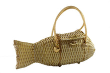 White and gold plastic wicker fish purse bag