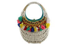KORET white wicker purse handbag with multicolor wool tassels