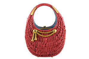 KORET pink wicker basket purse