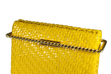 RODO mustard yellow wicker clutch