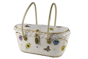 MIDAS OF MIAMI wicker and white beads bag